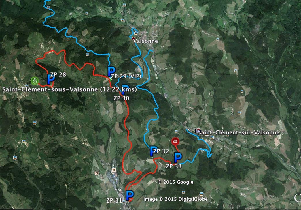 Carte-des-zones-vertes-p1-ES-Les-sauvages-Saint-Clement-ES9-ES13-rallye-lyon-charbonnieres-2015