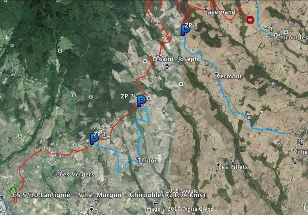 Carte-des-zones-vertes-p2-ES-Lantignié-Villié-Morgon-Beaujeu-ES1-ES5-ES10-rallye-lyon-charbonnieres-2015