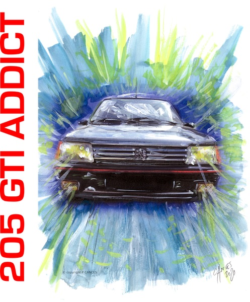 dessin P Cances 205 gti addict