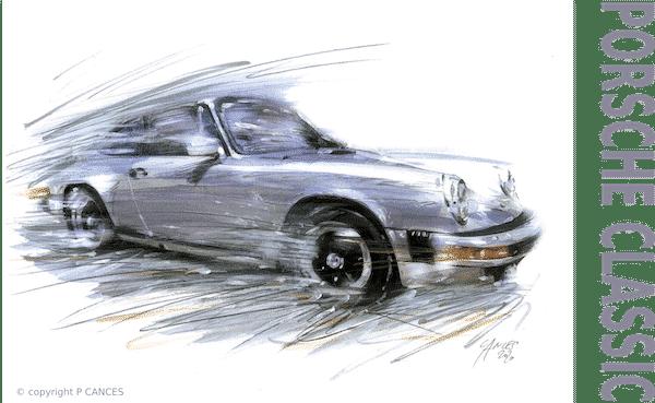 dessin de porsche 911 type G grise