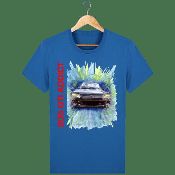 Tee Shirt 205 GTI fond bleu