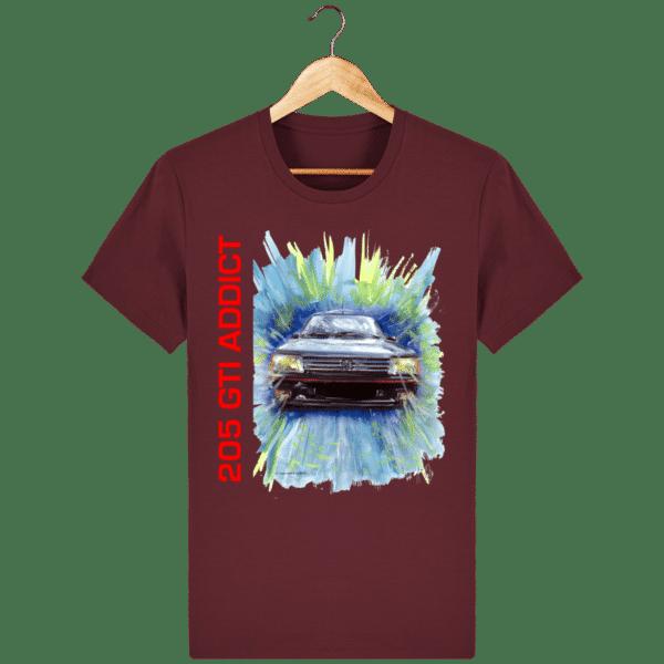 Tee Shirt 205 GTI fond lie de vin