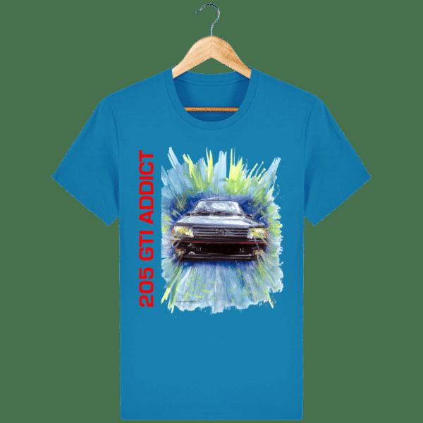 Tee Shirt 205 GTI fond bleu azur