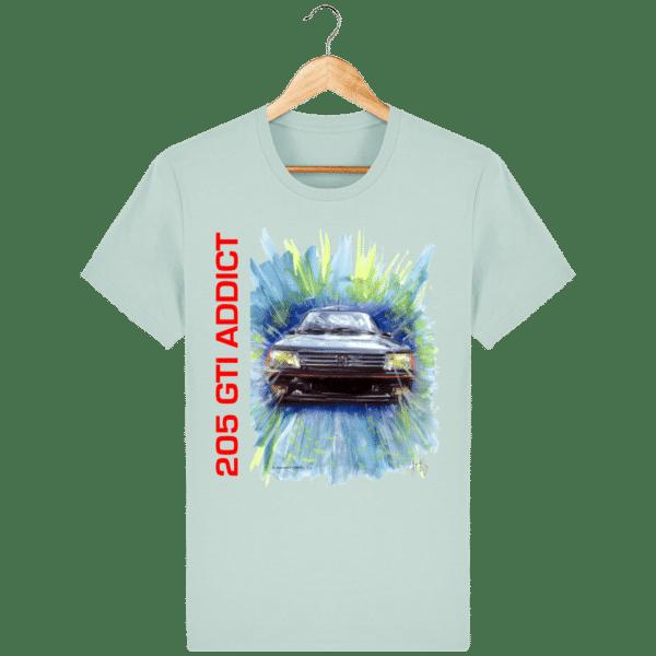 Tee Shirt 205 GTI fond bleu caraïbes