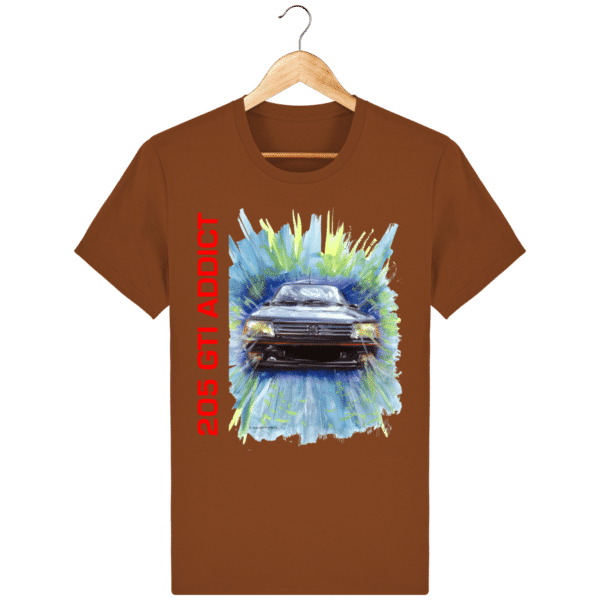 Tee Shirt 205 GTI fond orange foncé
