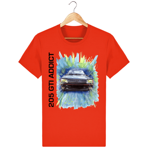 T Shirt 205 GTI addict rouge tangerine