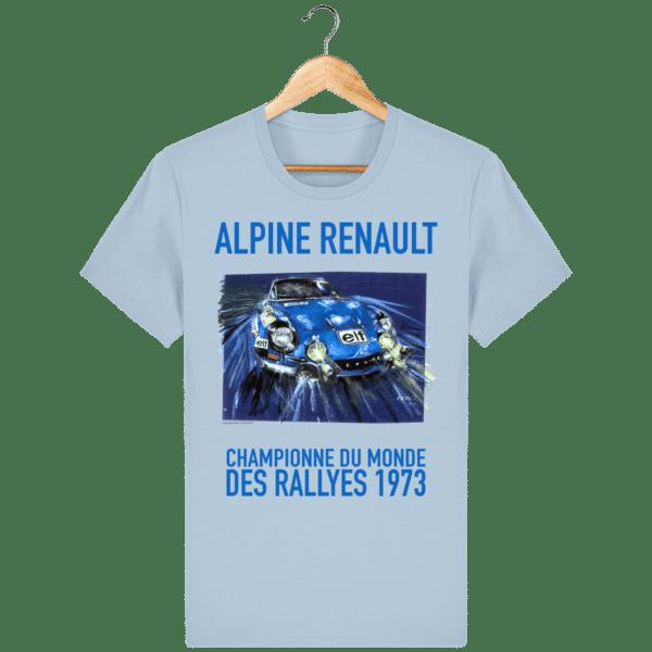 Tee Shirt ALPINE RENAULT championne du monde 1973 bleu ciel