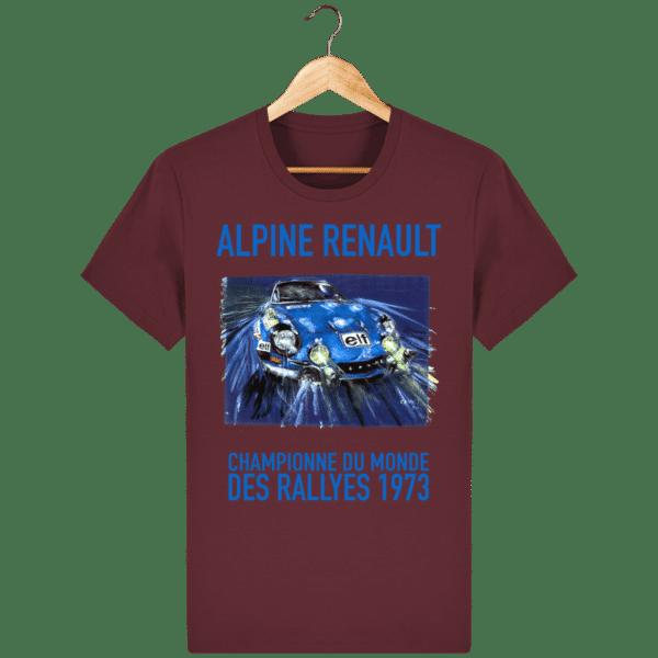 Tee Shirt ALPINE RENAULT championne du monde 1973 lie de vin
