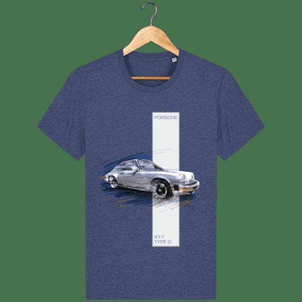 T-shirt Porsche 911 type G - Dark Heather Indigo - Face