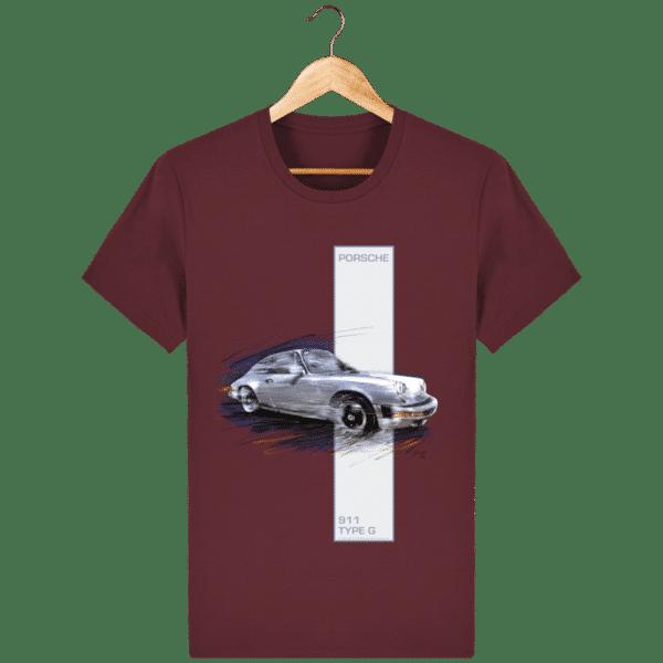 Tee shirt Porsche 911 Type G coloris 2 - Burgundy - Face