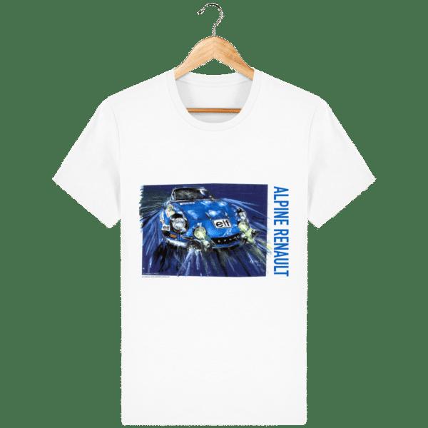 T-shirt Alpine A110 bleu - Dessin au Monte Carlo - White - Face