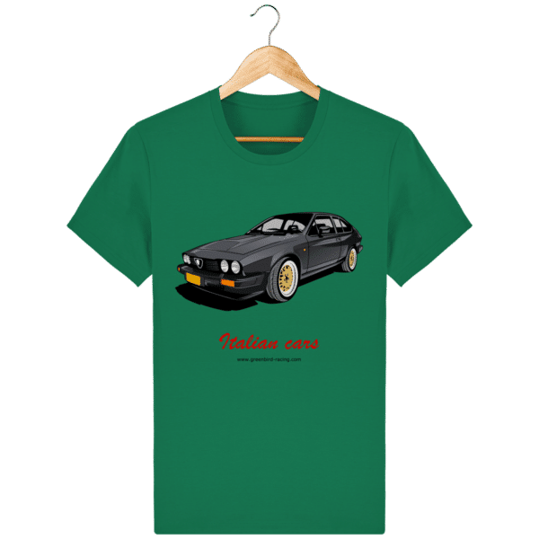 T-shirt Italian Cars GTV6 gris foncé - Varsity Green - Face