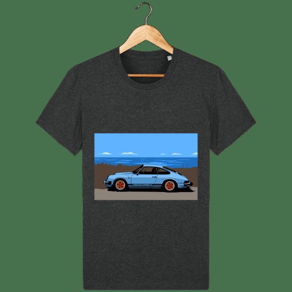 T-shirt Porsche 911 3,2l Carrera bord de mer - dark-heather-grey_face