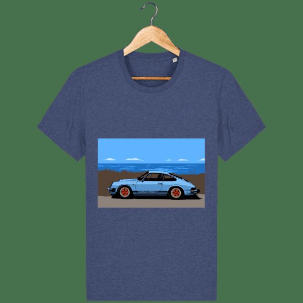 T-shirt Porsche 911 3,2l Carrera bord de mer - dark-heather-indigo_face