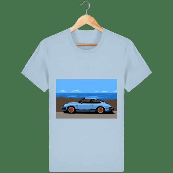 T-shirt Porsche 911 3,2l Carrera bord de mer - sky-blue_face