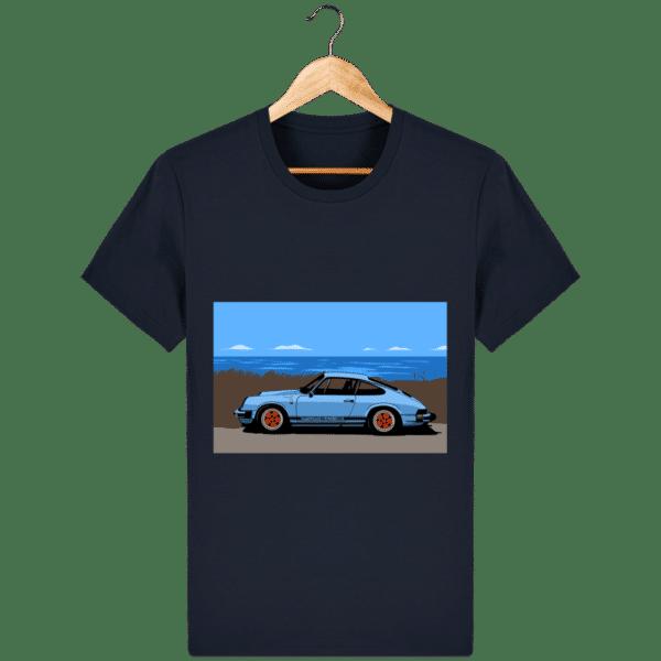 T-shirt Porsche 911 3,2l Carrera bord de mer - french-navy_face