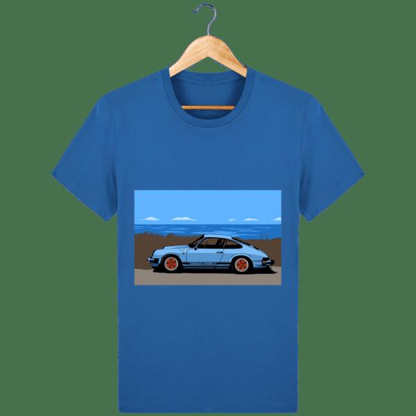 T-shirt Porsche 911 3,2l Carrera bord de mer - royal-blue_face