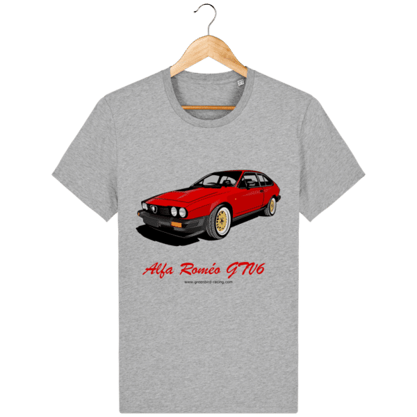 T-shirt GTV6 rouge alfa Roméo - heather-grey_face