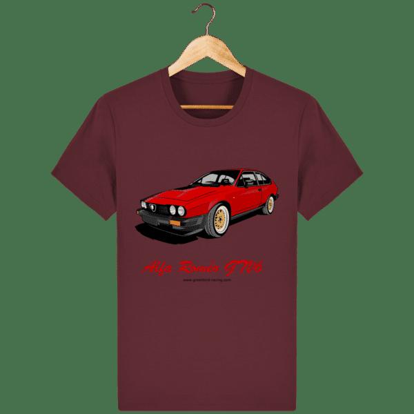 T-shirt GTV6 rouge alfa Roméo - burgundy_face