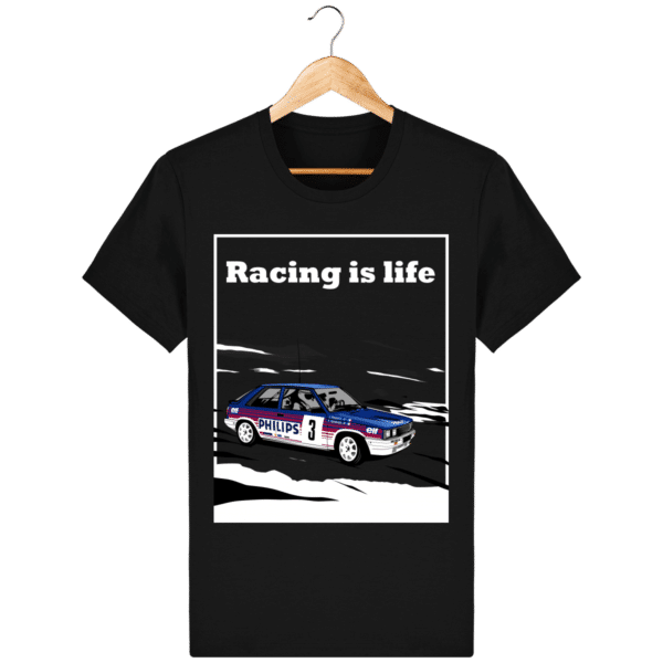T-shirt Renault 11 Turbo Racing is life - black_face