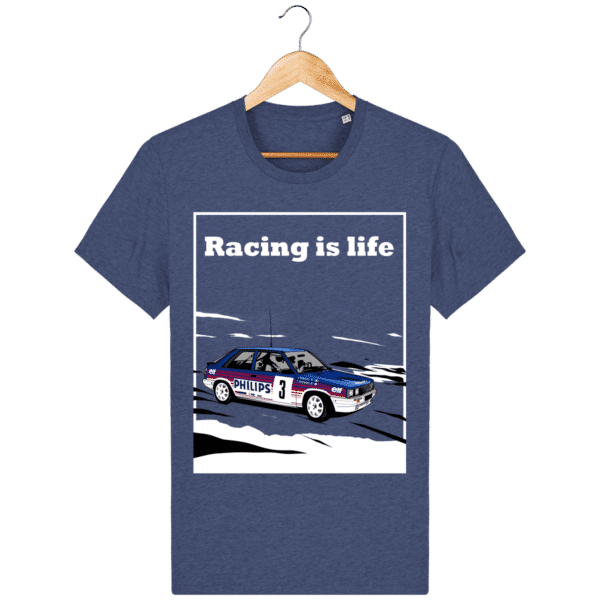 T-shirt Renault 11 Turbo Racing is life - dark-heather-indigo_face