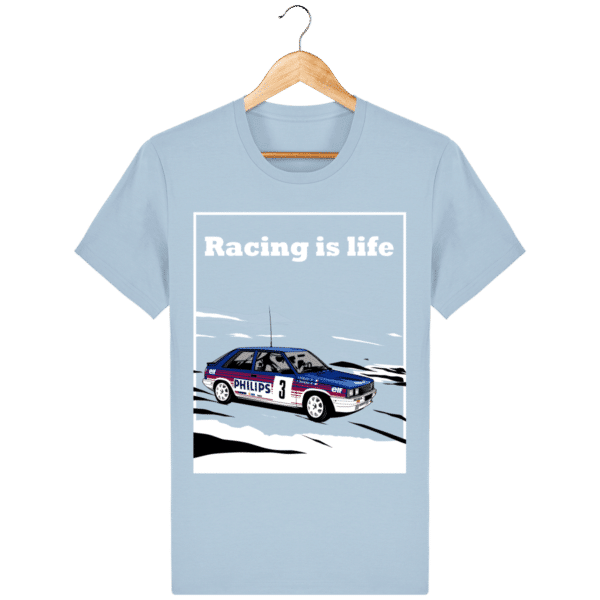 T-shirt Renault 11 Turbo Racing is life - sky-blue_face