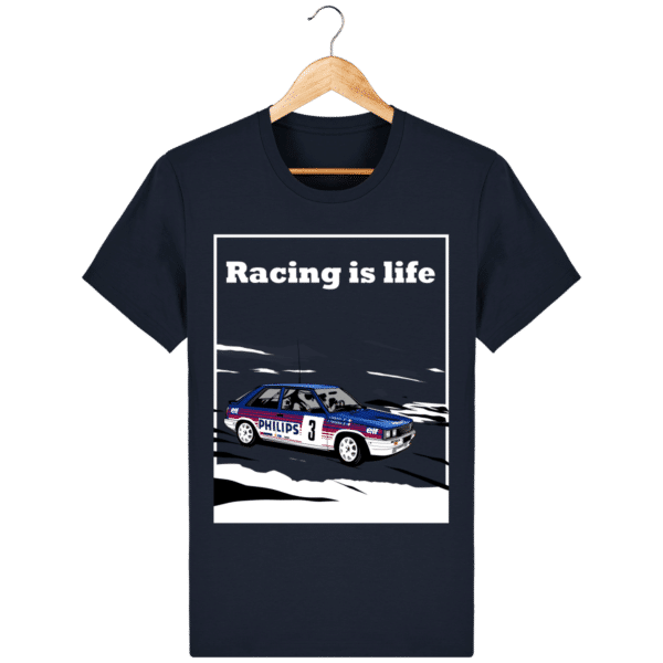 T-shirt Renault 11 Turbo Racing is life - french-navy_face