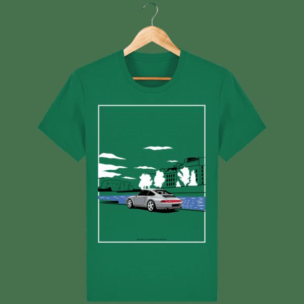 T-shirt Porsche 993 bord de seine vintage varsity-green_face