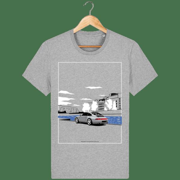 T-shirt Porsche 993 bord de seine vintage heather-grey_face