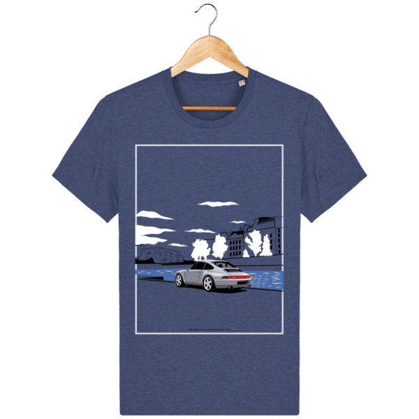 T-shirt Porsche 993 bord de seine vintage dark-heather-indigo_face