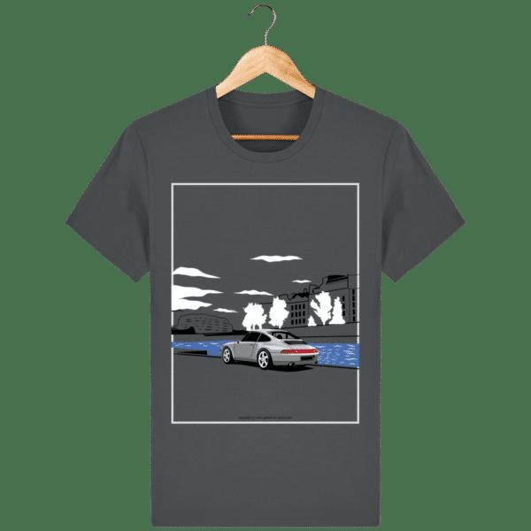 T-shirt Porsche 993 bord de seine vintage anthracite_face