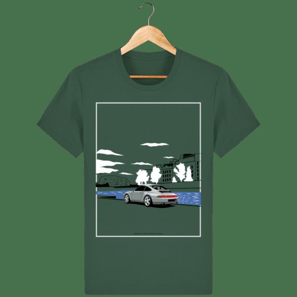 T-shirt Porsche 993 bord de seine vintage bottle-green_face