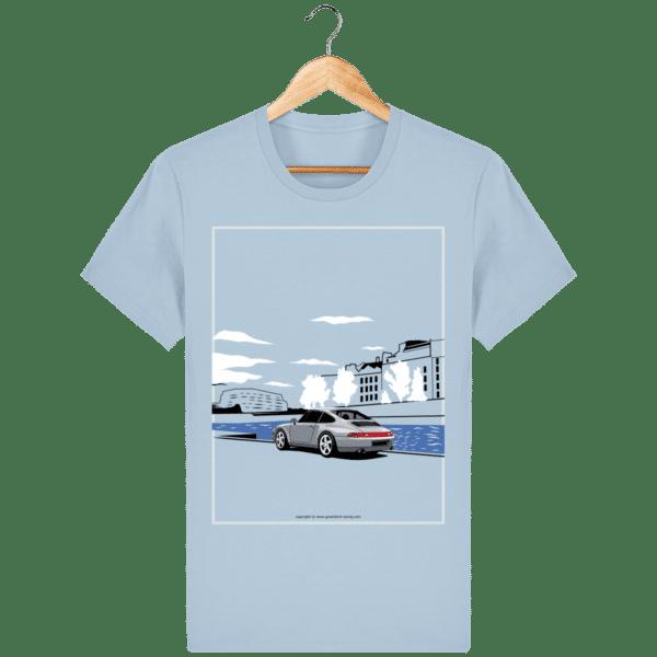 T-shirt Porsche 993 bord de seine vintage - sky-blue_face