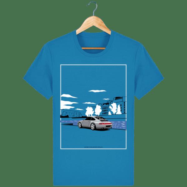 T-shirt Porsche 993 bord de seine vintage - Azur - Face azur_face