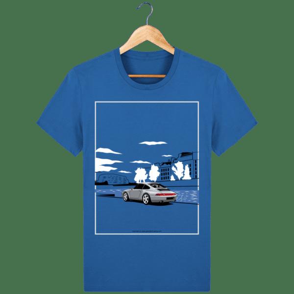 T-shirt Porsche 993 bord de seine vintage - Azur - Face royal-blue_face