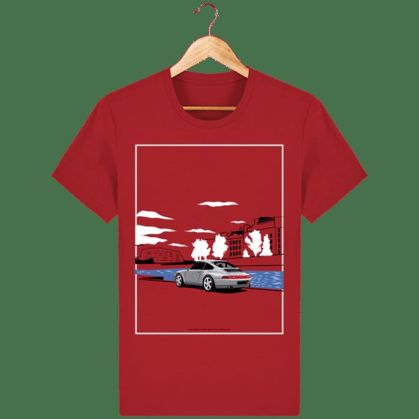 T-shirt Porsche 993 bord de seine vintage - Azur - Face red_face