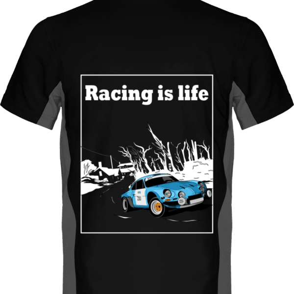 Polo Bicolore Alpine A110 - Racing is life - Black / Slate Grey - Dos