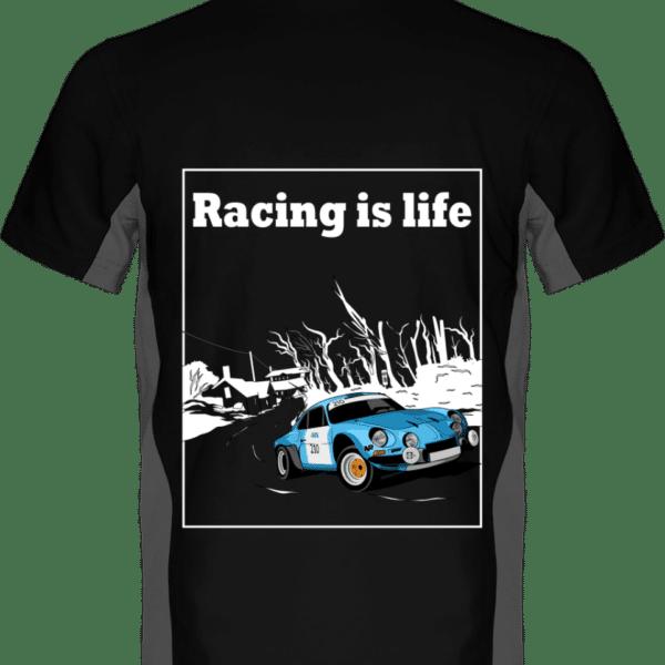 Polo Bicolore Alpine A110 - Racing is life - Black / Slate Grey - Dos