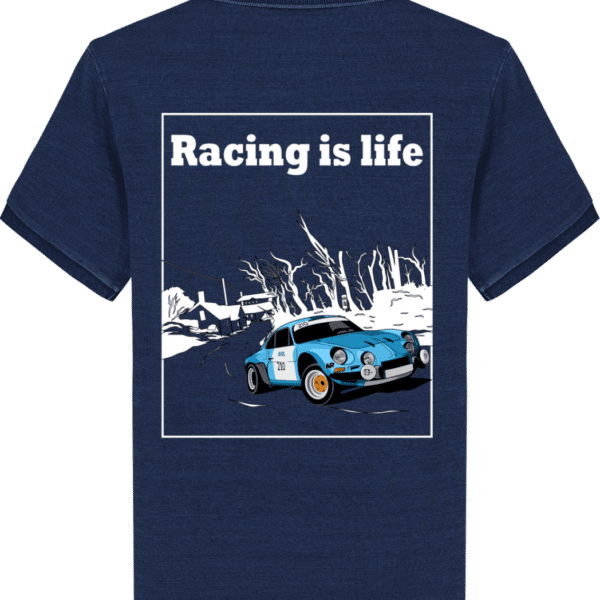 Polo Homme Stanley Alpine A110 - Racing is life - Dark Washed Indigo - Dos