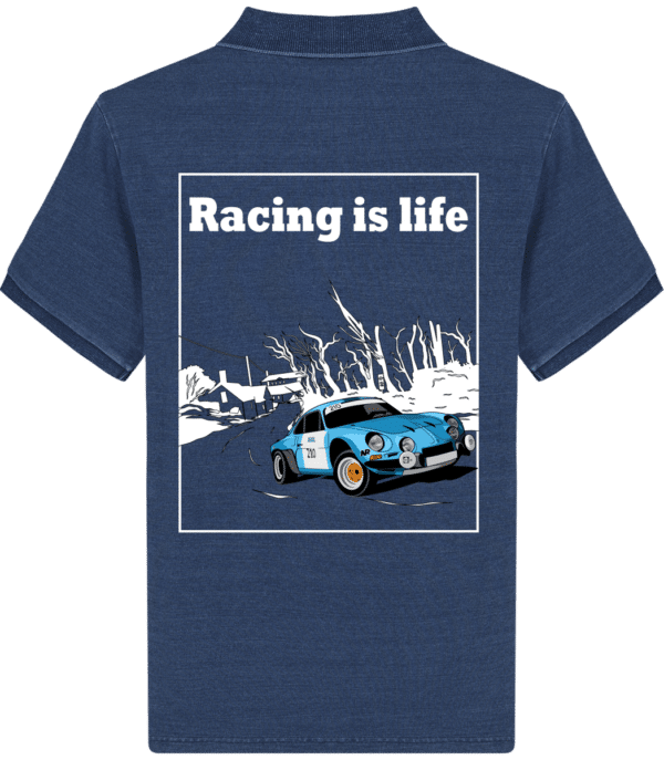 Polo Homme Stanley Alpine A110 - Racing is life - Mid Washed Indigo - Dos