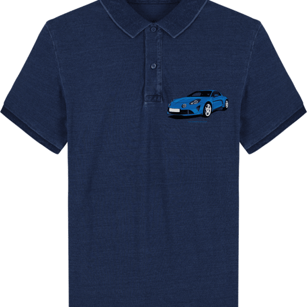 Polo Alpine A110 bleu imprimé poche - Dark Washed Indigo - Face