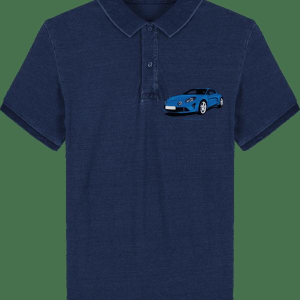 Polo Alpine A110 bleu imprimé poche - Dark Washed Indigo - Face