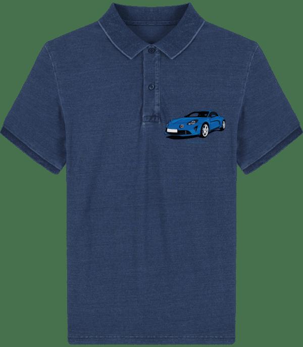 Polo Alpine A110 bleu imprimé poche - Mid Washed Indigo - Face
