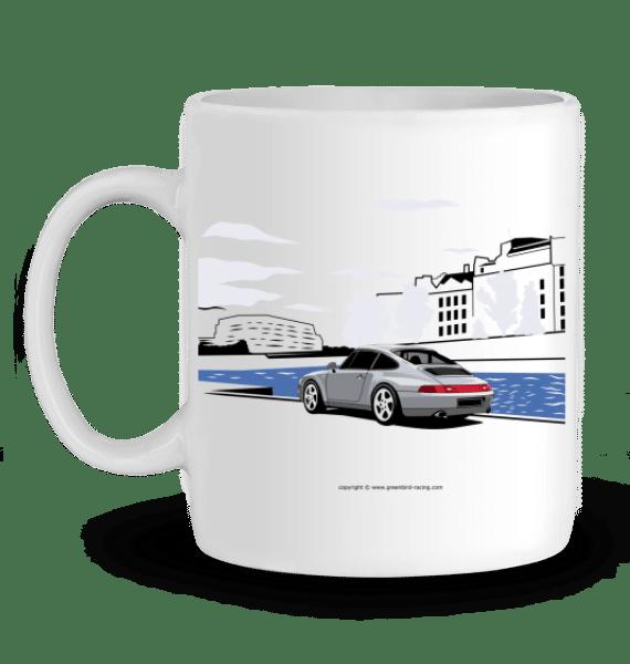Mug Porsche 993 en Céramique - BLANC - Profil gauche