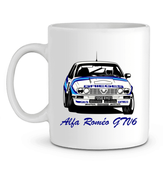 Mug Alfa Romeo GTV6 2,5 version Grièges - C Rigollet - BLANC - Profil gauche