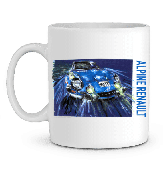 Mug Alpine A110 championne du monde 1973 Rallye Monte Carlo - BLANC - Profil gauche