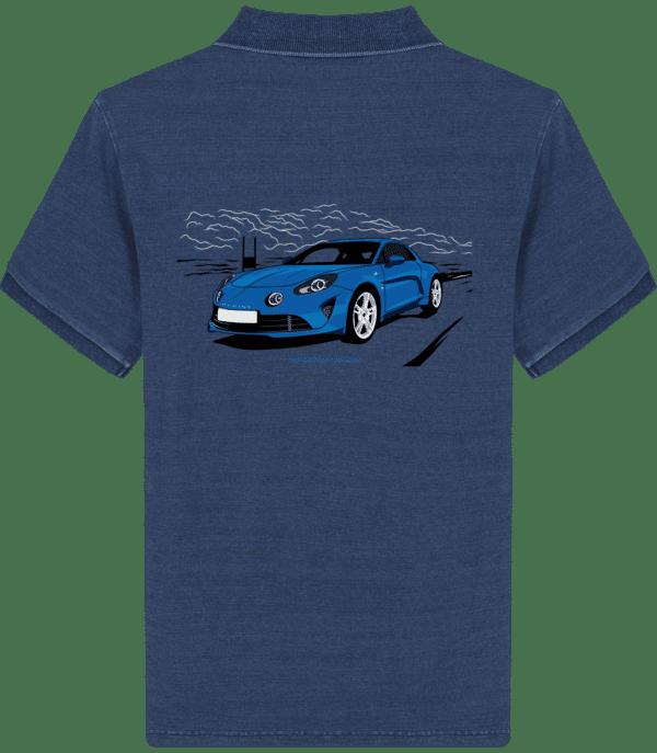 Polo Alpine A110 bleu imprimé dos - Mid Washed Indigo - Dos
