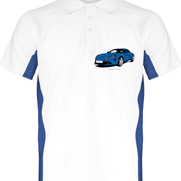 Polo Bicolore Alpine A110 pure Blanc et bleu - White / Royal Blue - Dos