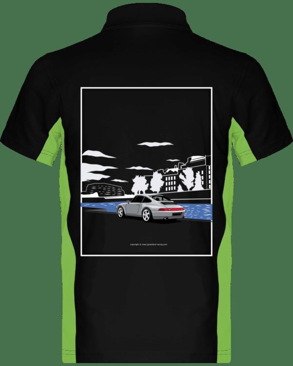 Polo Porsche 993 Paris rives de seine - Black / Lime - Dos