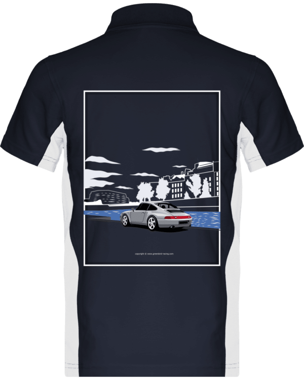 Polo Porsche 993 Paris rives de seine - Navy / White - Dos